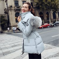Wholesale New Winter Women Clothes Fashion Women Winter Coats Long Down Thicken Slim Cotton Down Padded Jacket Coat Hooded Fur Collar Down Parkas