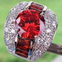 Wholesale 2015 A0079 Round Topaz Lady Engagement Jewelry Round Cut CT Garnet White Topaz Gemstones Silver Ring Size In Stock