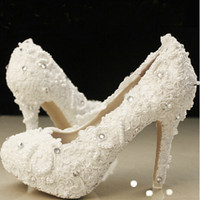 beautiful ballet flats - Ivory beautiful Vogue lace Pearl Crystal High Heels Wedding Bridal Shoes
