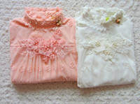 sweet tee shirts - HOT Lace Flower Printed Princess Girl s Dress Autumn Long Sleeve Tall Collar Sweet Girl Tshirts Girl Tees Shirts Childs Tops J3092