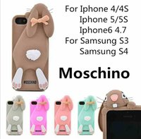 Wholesale 3D Cute Moschino buck teeth rabbit tpu silicone cartoon mobile phone case cellphone cover for S S Samsung S3 S4 Simon2010 US2