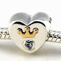Corona majestuosa del oro del corazón 14K con la marca de fábrica apta del encanto de la joyería DIY de la manera de la pulsera de Pandora de la pulsera de la plata esterlina del CZ el 100% 925