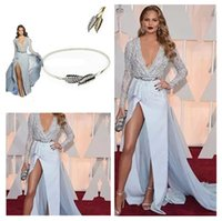 fashion lace ribbon - Zuhair Murad Evening Dresses With Beads A Line Sexy Deep V Neck Long Sleeves Slit Soft Chiffon Red Carpet Celebrity Dresses