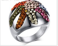 american rc - new stainless steel colorful CZ diamond ring Starfish shape high quality ring mix size RC