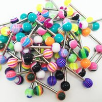 Wholesale 100pcs fashion sexy tongue rings mixed colors tongue piercing stainless steel anti allergic acrylic body pircing jewelry