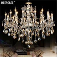 antique silver chandelier light - Large Arms Antique Silver Crystal Chandelier Lighting Fixture Cristal Lustre Lamp for Hotel Villa MD8707 L18 D1030mm H830mm