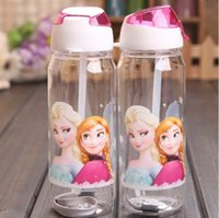 Wholesale Big discount Children Cup Cartoon Frozen Elsa Anna PP Texture Suction Cup with drinking straw water bottle