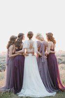 Wholesale 2016 Cheap Chiffon Bridesmaid Dresses Halter Neck Sleeveless Floor Length Backless Lace A Line Long Beach Wedding Bridsmaid Gowns SHJ