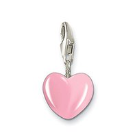 Wholesale Lovely heart charm three colors pink red silver enamel charm as gift of love charm pendant Fashion jewelry women