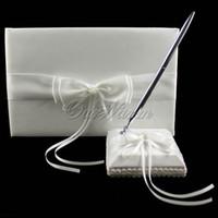 al por mayor libros de cuentas-2pcs / set Invitado BookPen Set Nuevo Noble artificial del grano del satén para la ceremonia de la boda de novia Suministros producto -1ZZJ