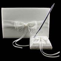 Wholesale 2Pcs set New Noble Artificial Bead Satin Guest Book Pen Set for Wedding Ceremony Bridal Product Supplies ZZJ