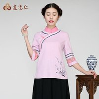 Wholesale Improvement of the spring and summer cotton Chinese wind Hanfu retro national tea service Chinese women s dress coat Zen