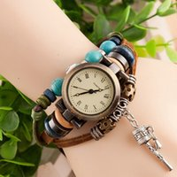 antique glass bells - DHL Drop shipping Korea Vine Wrist Watches Rattles Bell Pendant hand woven watches Casual Watches women Quartz watches
