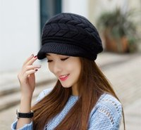 Wholesale Elegant new Women Hat Winter Fall Beanies Knitted Hats For Woman Rabbit Fur Cap Autumn And Winter Ladies Female Fashion Skullies