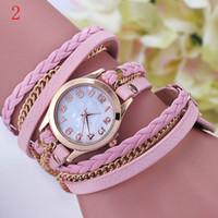 al por mayor relojes de la correa de cuero de la vendimia-DHL 2015 nueva moda de la vendimia de múltiples capas de piel de imitación de Faux correa de banda bandas de mujeres pulsera reloj de pulsera de cuarzo