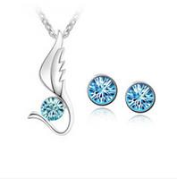 Wholesale Lose Money Promotion Austria Crystal Jewelry Sets Love Shape Czech Diamond Crystal Bridal Sets