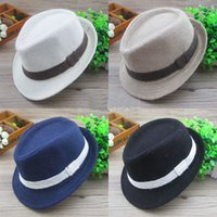 Wholesale summer Baby linen hats kids children s Caps accessories headwear boys girls fedora caps T colors NO258