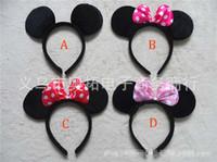 al por mayor decoración de cumpleañera-Niños Mickey y Minnie Mouse oídos de la venda del muchacho de la venda 4 del diseño niños fiesta de cumpleaños suministros decoraciones B001