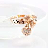 Wholesale Love Letter Bow Ring - 2016 Fashion Classic Letter LOVE YOU Bow Rings Crystal Punk brand Jewellery Rings for Women Bague Femme Bijoux B6 R041