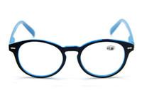 Wholesale Mens Large Round Retro Black Blue Frame Reading Glasses Presbyopia Lenses All Strengths