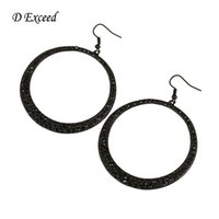 big earrings collection - New Collection Stainless Steel Simple Blace Big Hoop Earrings for Women Black Solid Round Party Earrings for Women ER140543
