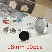Wholesale 20pcs mm Brass Silver Plated Cufflinks Accessory French Cufflinks Blank backs cameo Cabochons settings findings