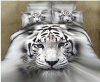 Wholesale White Tiger Animal D Oil Painting Print Bedding Sets Comforter sets Bed sets Duvet Covers bedspreads Full Queen Size PDN