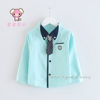 baby personalities - Children Shirts Gentleman Stripe Tie Long Sleeve Shirt For Boys Personality Stand Collar Design Baby Clothing K586
