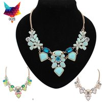 big nacklace - The new retro big gem crystal necklace short paragraph clavicle Europe nacklace women fashion statement fashion accessories