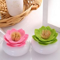 Wholesale Brand new Lotus Flower Tooth Pick Toothpick Holder Case Cotton Swab Bud Storage Box