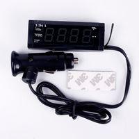 Wholesale New in1 Red LED Digital V V Car Tube Time Clock Thermometer Voltmeter