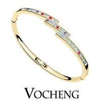 austrian crystal cuff bracelet - Brand Design Cuff Bracelet K Rose Gold White Gold Plated Half Circle Austrian Crystals colors VB Vocheng Jewelry