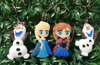 Wholesale Frozen children Frozen Key Chains Olaf Elsa Anna keychain Soft Rubber Cartoon Anna Elsa Keychain pendant Fashion Accessories