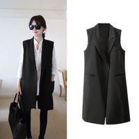 Wholesale Fashion Women Thin Coat Notched Collar Double Press Stud Pockets Sleeveless Waistcoat vest Jacket Black G0970
