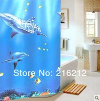 bathroom vinyl curtain - Bathroom Accessories Blue dolphin bathroom shower curtain waterproof thickening cm