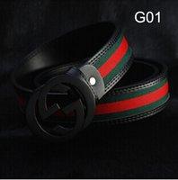 brand belt - 2015 new Fashion luxury designer brand belts men letter G red green canvas belts for men Genuine leather waist belt