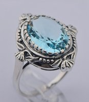 Wholesale 925 sterling silver classical royal topaz stone ring female fashion luxury Christmas gift aquamarine silver wedding rings