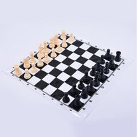 Wholesale Chess plastic no magnet with chessboard easy to carry travel practise
