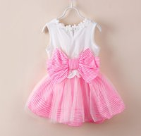 Wholesale Korean Children Clothing Big Butterfly Flower Hollow Striped Sleeveless Summer Dresses Kids Clothes Bowknot Stripe Dress Pink White D4200