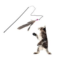 Wholesale Funny Pet Products Cat Bell Feather Wire Rod Dangle Flying Playing Toy Supplies for Cats