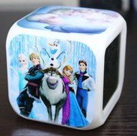 Wholesale 2015 Finger Toys Retail New LED Colors Digital Alarm Frozen Anna And Elsa Thermometer Night Colorful Glowing Clock BO6972