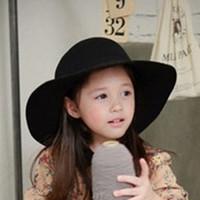 Wholesale AAA Quality Cute Children Girl Wool Felt Hats Kids Wide Brim Caps Casual Black Summer Beach Sun Hats EKO4