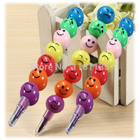 Wholesale New Cute Face Wax Crayon Colorful Sugar coated Haws Cartoon Joint Pencil Stationery FreeShipping