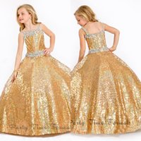 baby crystals - Pageant Dresses For Girls Ball Gown Gold Crystals Bling Bling Kids Flower Girl Dresses Floor Length Glitz Formal Baby