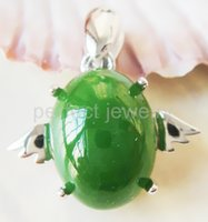 Wholesale Green jade pendant Necklace Natural original jade sterling silver Perfect jewerly Fine jewelry DH