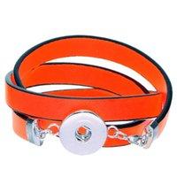 Wholesale 2014 New PC PU Leather Bracelets Fit Noosa Snap Buttons Orange red cm quot long