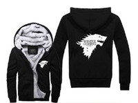 Wholesale Game Of THRONES House Of Stark Graphic Super Warm Thicken Fleece Zip Up Hoodie Men s Coat Black