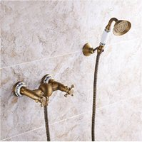 antique brass brackets - Luxury Wall Mount Dual Cross Handles Handheld Shower Mixer Faucet Antique Brass Finished with Bracket