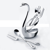 Wholesale 2016 New Design Goose Coffee Spoon Suit Creative Household Supplies Stainless Steel Cygnus Fashion Coffee Spoon Fork Holder Suit
