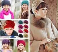 knit headband - 24 color knitting wool Woolen Crochet hair band winter warm camellia Flower women girl children Headbands headwear fashion